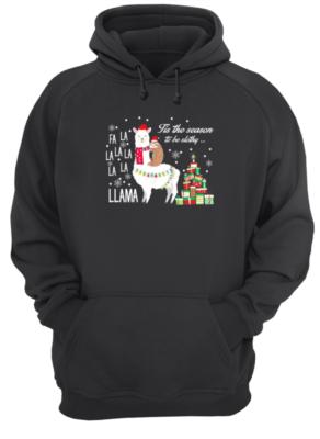 llamas copy unisex hoodie jet black front 292x400 - Fa La la la Llama Tis the season to be Slothy sweatshirt