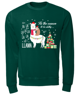 llamas copy unisex sweatshirt bottle green front 332x400 - Fa La la la Llama Tis the season to be Slothy sweatshirt