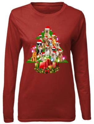 the dogs christmas tree sweatshirt women s long sleeved t shirt red front 304x400 - The Dogs Christmas tree sweatshirt, hoodie, t-shirt