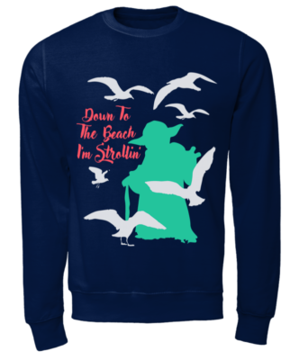 down to the beach im strollin shirt unisex sweatshirt oxford navy front 332x400 - Yoda Down to the Beach I'm Strollin' shirt, hoodie, long sleeve