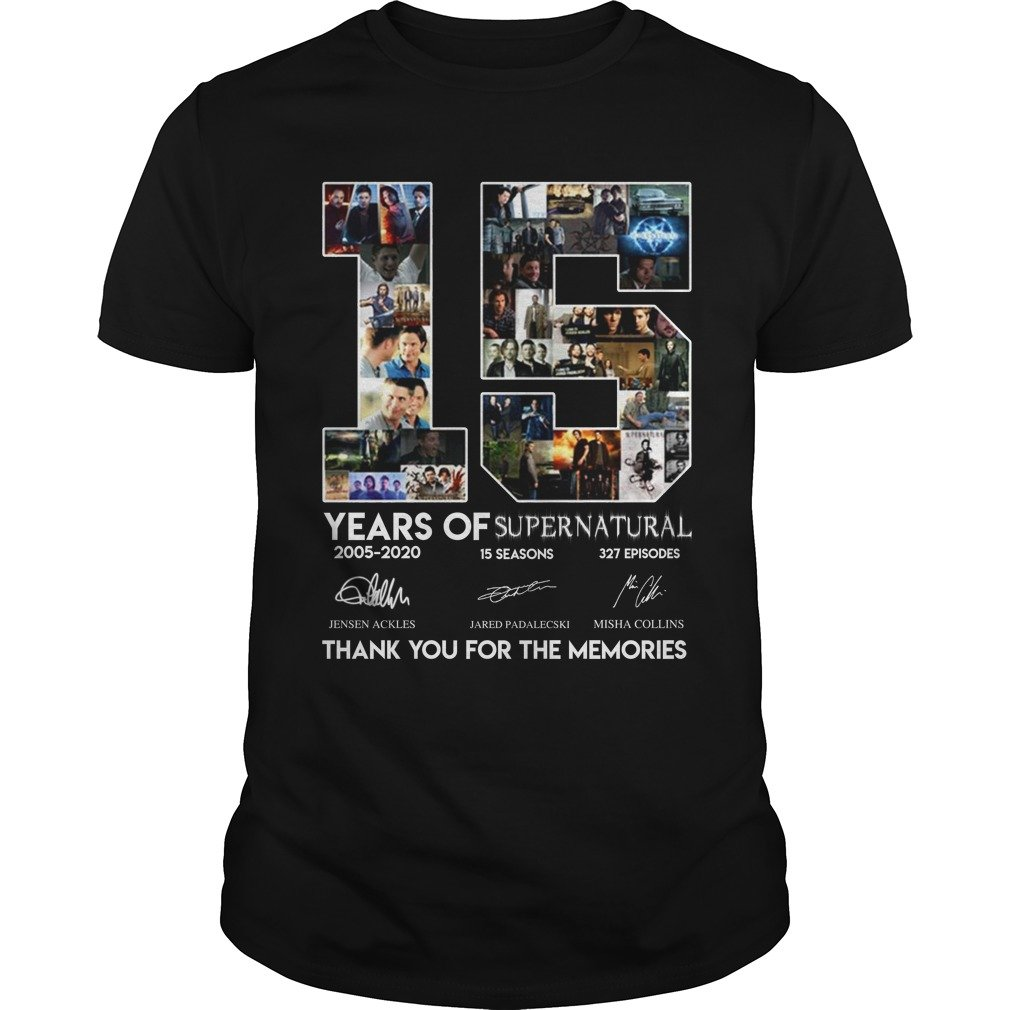 15 Years of Supernatural thank you for the memories shirt. - 15 Years of Supernatural thank you for the memories shirt