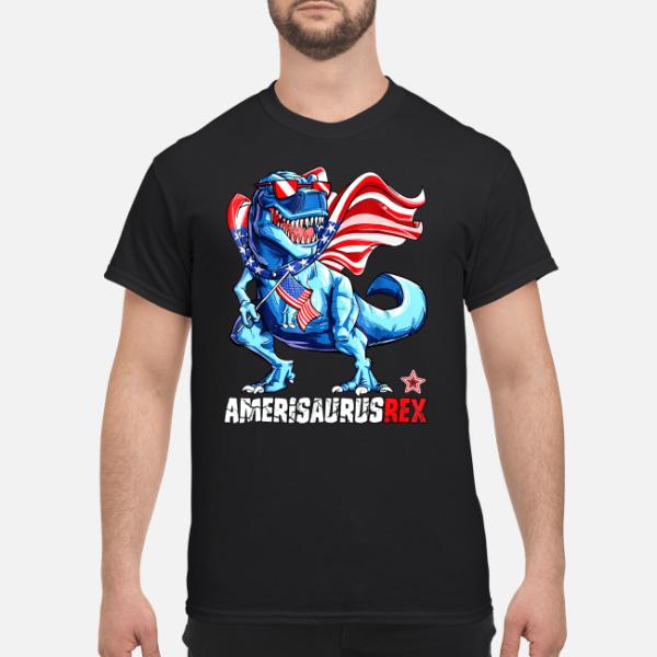 4th of july amerisaurus rex shirt men s t shirt black front 1 600x600 - 4th of July Amerisaurus Rex shirt