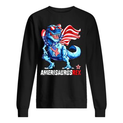 4th of july amerisaurus rex shirt unisex sweatshirt jet black front 400x400 - 4th of July Amerisaurus Rex shirt