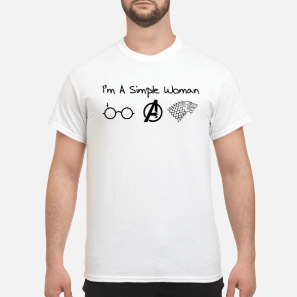 im a simple woman i like harry potter avengers and got shirt men s t shirt white front 1 600x600 - I'm a simple woman I like Harry Potter Avengers and GOT shirt