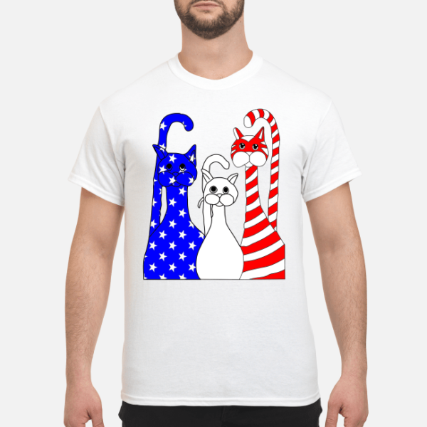 three cats american flag shirt men s t shirt white front 1 600x600 - Three Cats American flag shirt