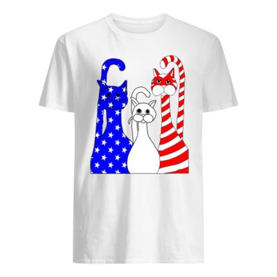three cats american flag shirt men s t shirt white front 400x400 - Three Cats American flag shirt