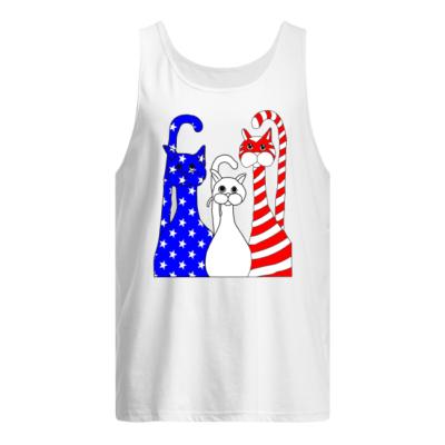 three cats american flag shirt men s tank top white front 400x400 - Three Cats American flag shirt