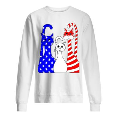 three cats american flag shirt unisex sweatshirt arctic white front 400x400 - Three Cats American flag shirt