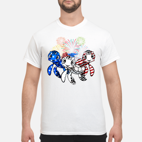 three turtle american flag shirt men s t shirt white front 1 600x600 - Three Turtle American flag shirt