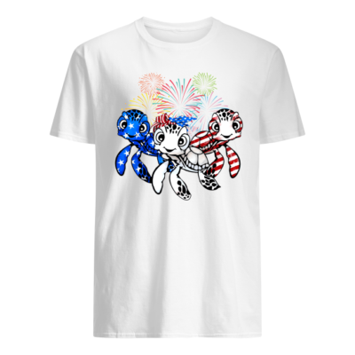 three turtle american flag shirt men s t shirt white front 400x400 - Three Turtle American flag shirt