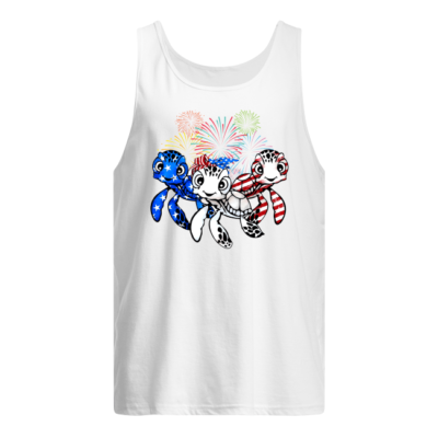 three turtle american flag shirt men s tank top white front 400x400 - Three Turtle American flag shirt