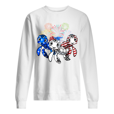 three turtle american flag shirt unisex sweatshirt arctic white front 400x400 - Three Turtle American flag shirt