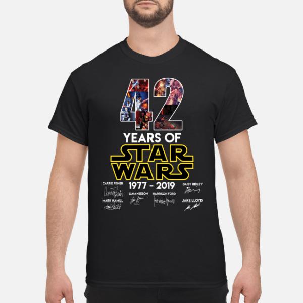 42 years of star wars 1977 2019 shirt men s t shirt black front 1 600x600 - 42 Years of Star wars 1977 – 2019 shirt