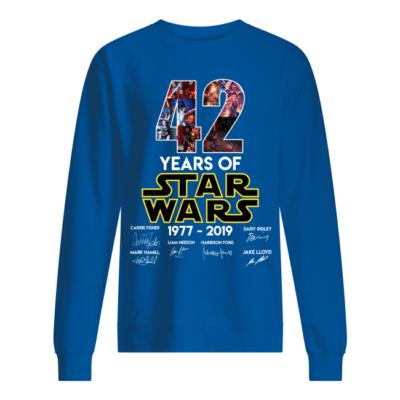 42 years of star wars 1977 2019 shirt unisex sweatshirt royal front 400x400 - 42 Years of Star wars 1977 – 2019 shirt