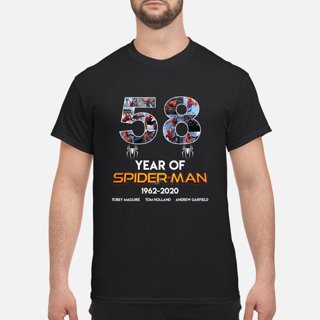 58 year of spder 1962 2020 shirt men s t shirt black front - 58 years of Spider  Man 1962-2020 shirt