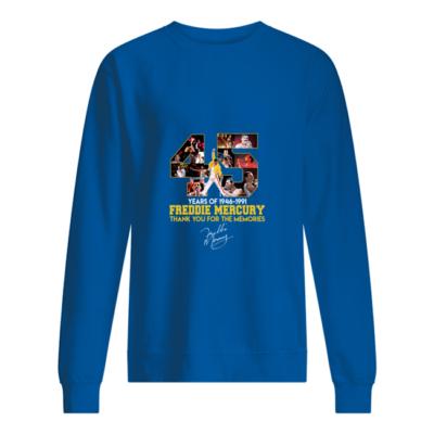45 years of freddie mercurt shirt unisex sweatshirt royal front Copy 400x400 - 45 Years of Freddie Mercury shirt