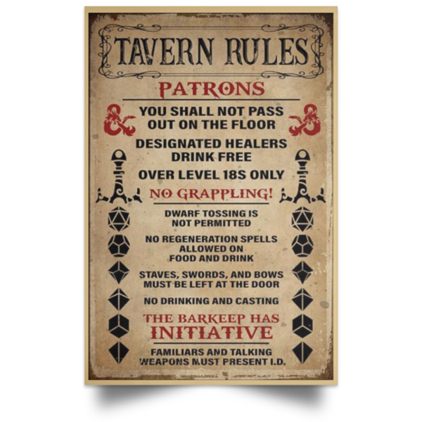 redirect 250 600x600 - Tavern rules patrons poster