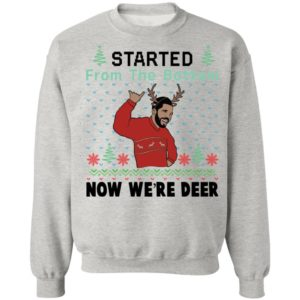 redirect 647 300x300 - Drake Started from the bottom now we're deer Christmas sweatshirt
